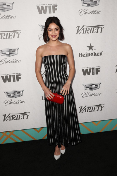 Lucy Hale Hard Case Clutch [variety and women in film,variety and women in films 2018 pre-emmy celebration,clothing,dress,strapless dress,shoulder,premiere,cocktail dress,fashion,carpet,event,red carpet,lucy hale,arrivals,west hollywood,california,cecconi,2018 pre-emmy celebration]