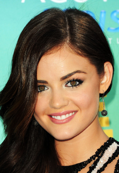 Lucy Hale Dangling Gemstone Earrings [hair,face,eyebrow,hairstyle,lip,forehead,beauty,black hair,chin,cheek,arrivals,lucy hale,2011 teen choice awards,gibson amphitheatre,universal city,california]