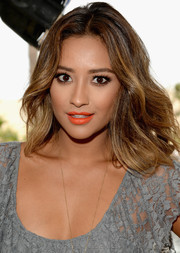 Shay Mitchell's orange lipstick totally lit up her beauty look.