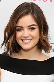 Lucy Hale kept it youthful and cute with this short wavy 'do at the Blowpro launch.