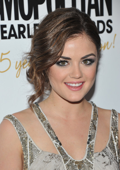 Lucy Hale Bobby Pinned Updo