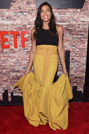 Rosario Dawson looked festive in a yellow maxi skirt with a flouncy hem at the New York premiere of 'Luke Cage.'