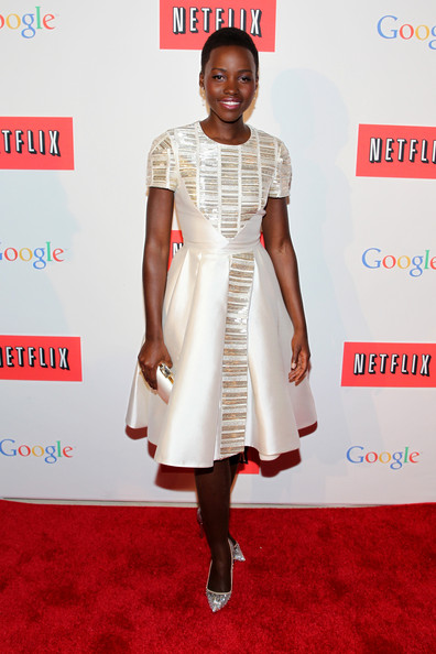 Lupita Nyong'o Beaded Dress [the eveof the white house correspondents,red carpet,white,clothing,carpet,dress,cocktail dress,fashion,shoulder,hairstyle,joint,lupita nyongo,white house correspondent,dinner,red carpet,washington dc,google,netflix co-host party,united states institute of peace,weekend party]