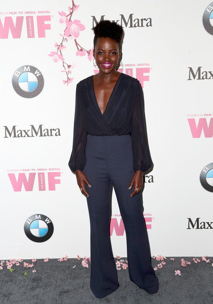 Lupita Nyong'o Wrap Top [film,flooring,formal wear,shoulder,fashion,suit,carpet,red carpet,fashion design,women,lupita nyongo,women in film 2017 crystal lucy awards,crystal lucy awards,the beverly hilton hotel,beverly hills,max mara,bmw,red carpet]