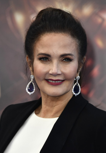 Lynda Carter Dangling Gemstone Earrings [premiere of warner bros. pictures,hair,face,eyebrow,hairstyle,beauty,lip,chin,forehead,official,black hair,wonder woman,lynda carter,arrivals,california,hollywood,pantages theatre,warner bros. pictures,premiere]