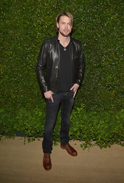 Chord Overstreet chose this simple and streamline leather jacket for his look at the 'Vogue' and MAC Cosmetics Dinner Party in LA.