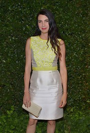 Shiva Rose chose this silver sheath dress that featured a lime green lace detail on the bodice for her look at the MAC and 'Vogue' Dinner Party in LA.