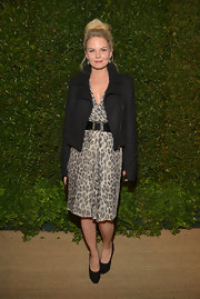Jennifer Morrison added some bad girl edge to her animal-print frock with this notched collar jacket.