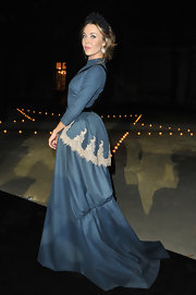 Ulyana Sergeenko flaunted her signature silhouette in one of her own dress designs.