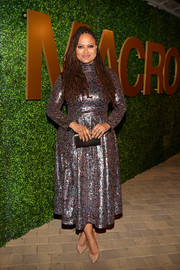 Ava DuVernay shimmered in a multicolored sequined dress at the MACRO pre-Oscar party.