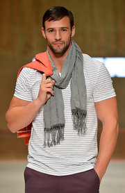 Kris Smith was the king of the catwalk in a gray knit scarf at the MYER Collection Show.