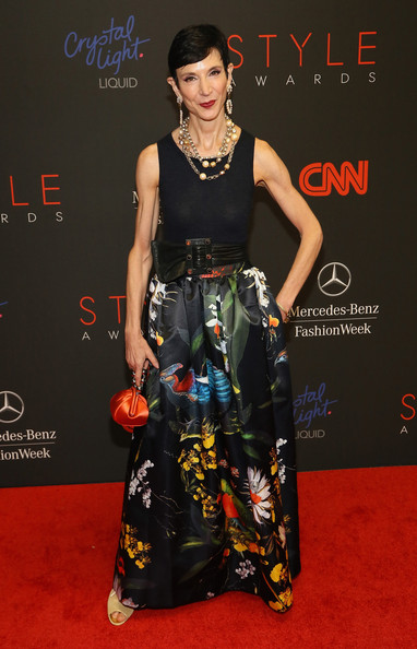 Amy Fine Collins looked festive at the Style Awards in a long floral skirt teamed with a navy tank top.
