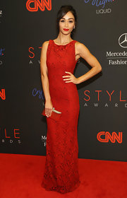 Cara Santana went for simple elegance at the Style Awards in a red lace evening dress.
