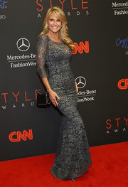 Christie Brinkley looked ageless at the Style Awards in a figure-hugging gray lace evening dress.