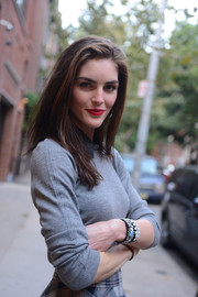 Hilary Rhoda spiced up her casual outfit with a cute pair of beaded bracelets for the Dannijo presentation.