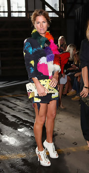 Heidi Middleton wore a pair of bright white leather cutout booties while taking in the Romance Was Born fashion show.