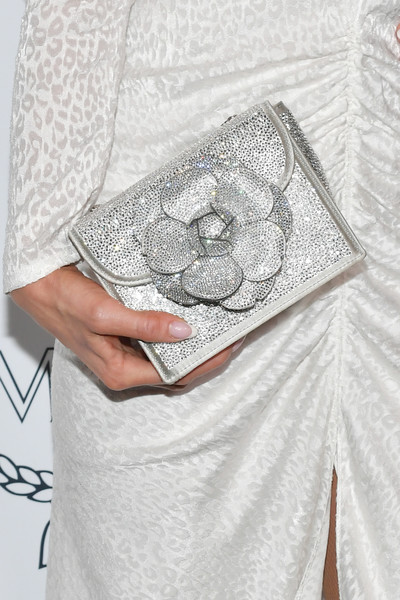 More Pics of Paris Hilton Metallic Clutch (1 of 17) - Handbags Lookbook - StyleBistro [white,clothing,fashion,dress,silver,design,hand,textile,visual arts,beige,arrivals,mcm global flagship store grand opening on rodeo drive,beverly hills,california,mcm global flagship store,paris hilton]