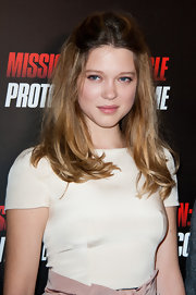 Lea Seydoux wore her shiny tresses half up, half down at the Paris premiere of 'MI:4.'