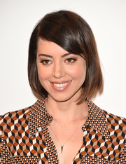 Aubrey Plaza attended the MOCA Distinguished Women in the Arts luncheon wearing a cute and classic bob.