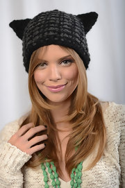 The actress struck a pose in a cat-ear beanie.