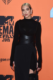 Dua Lipa went the festish-chic route with this black waist harness by Dion Lee at the 2019 MTV EMAs.