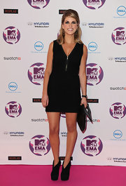 Amy Huberman donned a little black dress at the MTV EMA's. She topped off her look with black suede platform ankle boots.