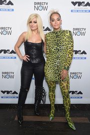 Rita Ora took matchy-matchy to the extreme with this animal-print tights and dress combo.