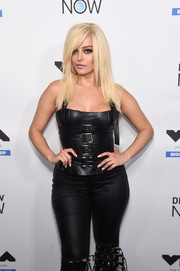Bebe Rexha gave us bondage vibes with this belt-embellished leather corset at the MTV VMA kickoff concert.