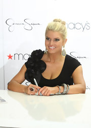 Singer and designer Jessica Simpson attended Find Your Magic Campaign Kick-Off at Macy's wearing three  oxidized sterling silver and pave diamond bangles.