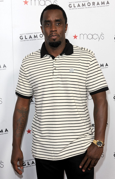 Sean Combs kept it simple yet stylish in a black-and-white striped polo shirt during Macy's Glamorama event.