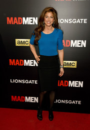 Dylan Lauren was casual in a cobalt scoopneck sweater and a black pencil skirt during the 'Mad Men' special screening.
