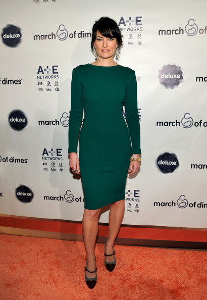 Madchen Amick Platform Pumps [clothing,dress,cocktail dress,red carpet,carpet,shoulder,fashion,joint,footwear,premiere,madchen amick,march of dimes celebration of babies luncheon,beverly hills hotel,california,march of dimes celebration of babies luncheon]