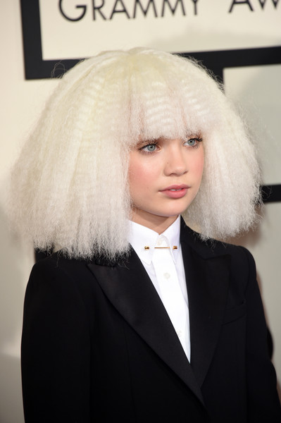 Maddie Ziegler Wigs [hair,face,white,hairstyle,blond,head,beauty,lady,yellow,fashion,arrivals,maddie ziegler,grammy awards,staples center,los angeles,california,the 57th annual grammy awards]