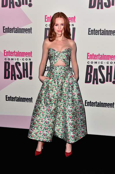 Madelaine Petsch Pumps [clothing,dress,premiere,fashion,carpet,magazine,footwear,red carpet,pattern,event,entertainment weekly comic-con celebration - arrivals,madelaine petsch,float,san diego,hard rock hotel,california,entertainment weekly,hbo,comic-con bash]