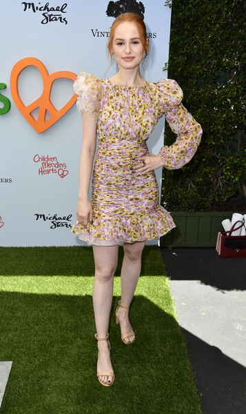 Madelaine Petsch Strappy Sandals [clothing,dress,cocktail dress,fashion model,red carpet,fashion,carpet,shoulder,hairstyle,yellow,arrivals,madelaine petsch,private residence,bel air,california,empathy rocks fundraiser]