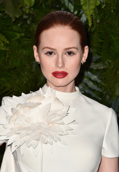 Madelaine Petsch Classic Bun [max mara wif face of the future,madelaine petsch,hair,lip,white,lady,beauty,fashion,hairstyle,haute couture,dress,retro style,california,los angeles,chateau marmont,arrivals]