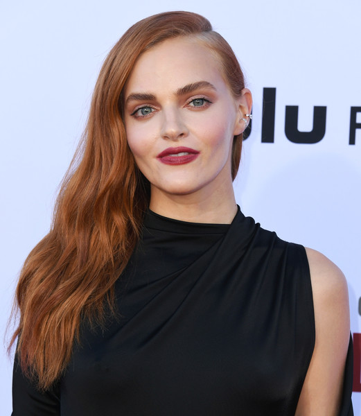 Madeline Brewer Side Sweep [the handmaids tale celebrates season 3,the handmaids tale celebrates season 3 finale,hair,face,hairstyle,eyebrow,blond,lip,beauty,shoulder,chin,skin,arrivals,madeline brewer,hulu,california,regency village theatre,westwood]