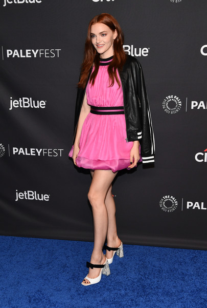 Madeline Brewer Leather Jacket [the handmaids tale,clothing,pink,dress,fashion,carpet,footwear,premiere,red carpet,cocktail dress,flooring,arrivals,madeline brewer,los angeles,dolby theatre,california,hollywood,paley center for media,paleyfest]