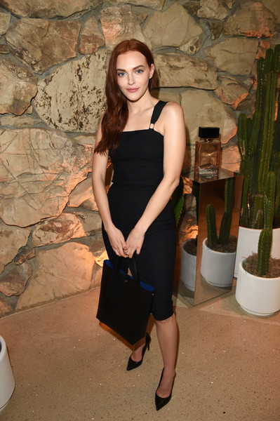Madeline Brewer Leather Tote [clothing,shoulder,dress,little black dress,fashion,cocktail dress,joint,leg,fashion model,formal wear,fashion designers,madeline brewer,first fragrance,arizona,beverly hills,vanity fair,jack mccollough,lazaro hernandez,proenza schouler,launch]