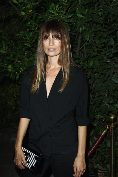 Caroline De Maigret went for a subdued look with this black double-breasted blazer and skinny jeans combo at the 'Mademoiselle C' cocktail party.