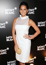 Olivia Munn was as stylish as ever in a sleeveless white sheer-panel dress by Viktor & Rolf during the Montblanc Madison Avenue opening.
