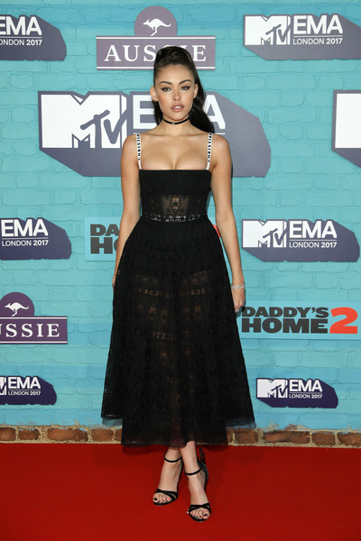 Madison Beer Strappy Sandals [clothing,red carpet,carpet,dress,shoulder,premiere,cocktail dress,fashion,flooring,a-line,red carpet arrivals,emas 2017,carpet,madison beer,red carpet,mtv europe music awards,red carpet fashion,wembley,sse arena,mtv,rita ora,2017 mtv europe music awards,2020 mtv europe music awards,the sse arena wembley,2017,celebrity,award,red carpet,red carpet fashion]