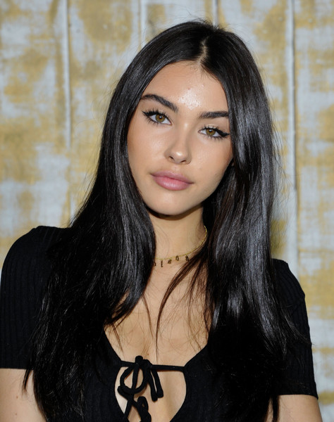 Madison Beer Long Straight Cut [hair,face,hairstyle,black hair,eyebrow,beauty,long hair,lip,layered hair,chin,madison beer,guess glitz,the carondelet house,los angeles,california,glam holiday event,event]