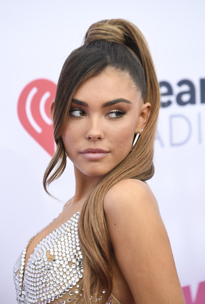 Madison Beer Ponytail [wango tango,the juv\u00e3\u2030derm\u00e2\u00ae collection of dermal fillers,hair,hairstyle,face,eyebrow,blond,chin,long hair,beauty,brown hair,lip,arrivals,iheartradio wango tango,madison beer,carson,california,dignity health sports park,iheartradio]