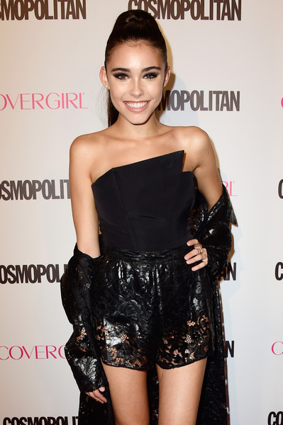 Madison Beer Corset Top [clothing,shoulder,dress,hairstyle,little black dress,fashion,joint,cocktail dress,fashion model,leg,madison beer,ysabel,west hollywood,california,cosmopolitan,red carpet,birthday celebration]