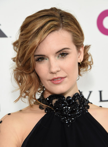 Maggie Grace Loose Bun [red carpet,hair,face,hairstyle,blond,eyebrow,lip,beauty,chin,hair coloring,brown hair,maggie grace,west hollywood park,california,the city,elton john aids foundation,oscar viewing party]