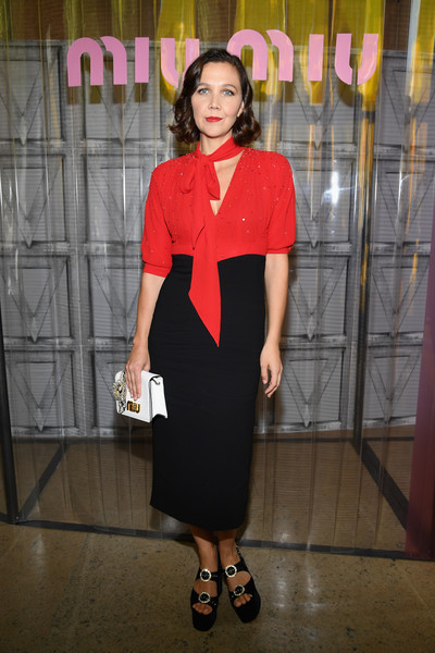 Maggie Gyllenhaal Leather Clutch