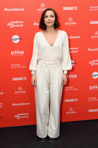 Maggie Gyllenhaal Wide Leg Pants [the kindergarten teacher premiere,clothing,red,pantsuit,red carpet,carpet,premiere,flooring,long hair,fashion design,maggie gyllenhaal,the kindergarten teacher,park city library,utah,sundance film festival,premiere]