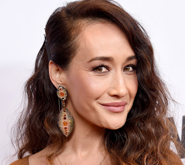 Maggie Q Dangle Decorative Earrings [hair,face,hairstyle,eyebrow,ear,chin,cheek,nose,skin,forehead,arrivals,maggie q,china,beverly hills,california,beverly wilshire four seasons hotel,wildaid,evening]