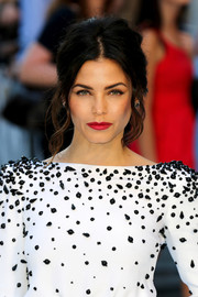 Jenna Dewan-Tatum's red lipstick looked striking against her monochrome outfit.